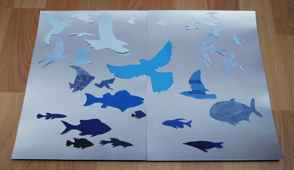 blue fish and birds