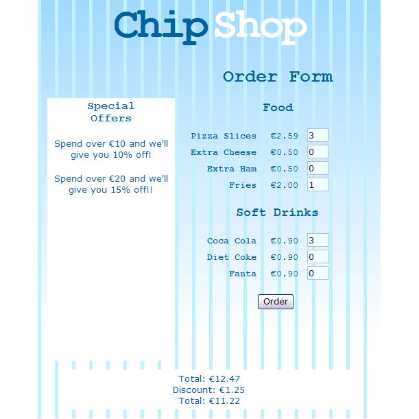 chip shop order form