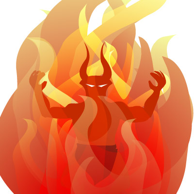 fire demon, lots of red and orange, he has pointed horns and glowing eyes