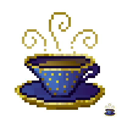 blue pixeled teacup with gold details