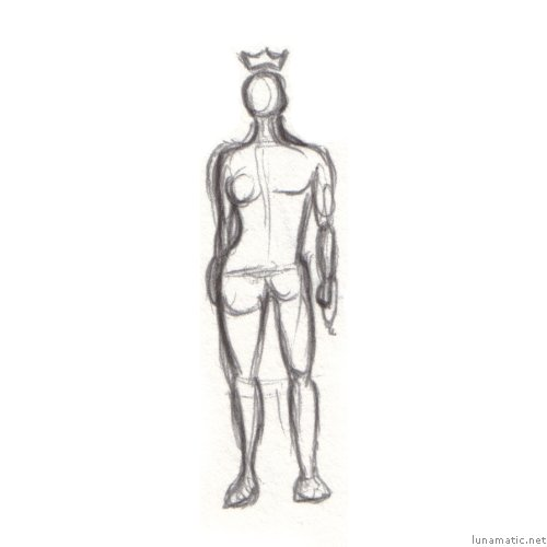 a sketch of a figure which is half female and half male