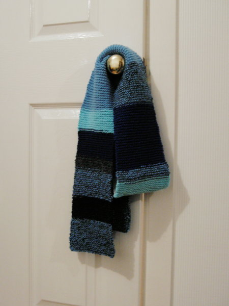 blue stripey scarf, aqua and navy too