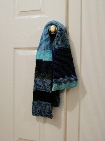 blue stripey scarf, aqua and navy too