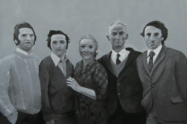 family portrait, painted in black and white acrylics