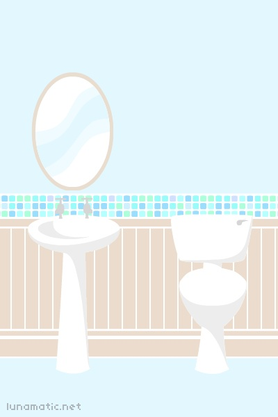 the bathroom is aqua blue, and has lots of tiny little mosaic tiles as a border. the bathroom has a large oval mirror, and a simple white sink and toilet set