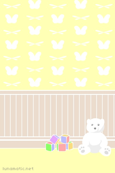 background image for my webcomic, this is an indoor scene, a bedroom with pale yellow wallpaper. the wallpaper pattern is made up of dragonfly wings and butterfly wings, a white teddy bear and some colourful wooden blocks sit on the floor