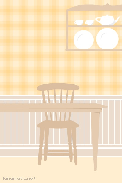 the kitchen scene features plain old fashioned wooden furniture, the kind you might have found in a farm house years ago. the kitchen background is completed with a wooden plate rack in the background, inspired by the one we used to have in the kitchen when I was growing up