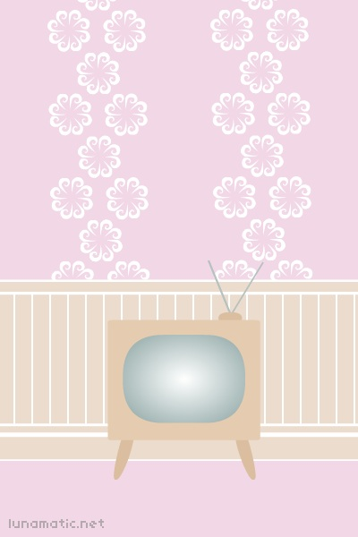 the sitting room has powder pink wallpaper, with big, vaguely flower-shaped swirls on it. the only furniture visible in the sitting room is a very old television, with a wooden exterior and stubby little legs