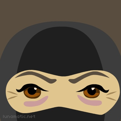 All you can see of the ninjas face are her eyes, which, by the way, have a murderous expression