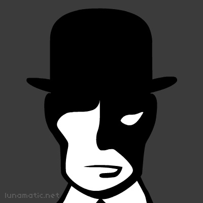 It's impossible to see the bankers eyes, hidden by the deep shadow thrown by his bowler hat