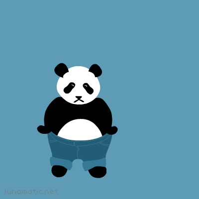this panda is modelling jeans, which are turned up at the bottom. turned up a whole lot