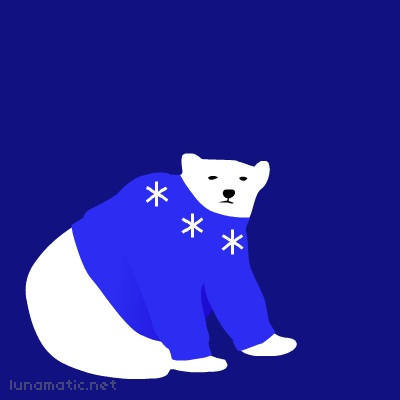 Polar bear in a sweater of royal blue with little snowflakes around the collar