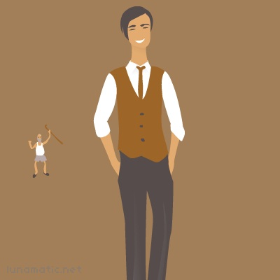 Slacks! Waistcoat! Clean white shirt rolled up to the elbows! Young man!!