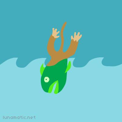 Frightened monkey fish