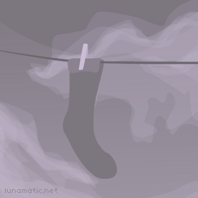 An old sock hanging on the line at twilight, with the clouds scuttling by in the distance.