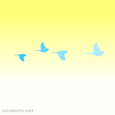 Blue birds on pale yellow