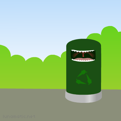Recycle bin says om nom nom