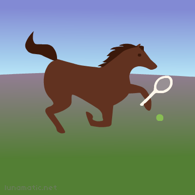 A horse playing tennis. He's not wearing Wimbledon white, but that's ok, it's just a casual match.