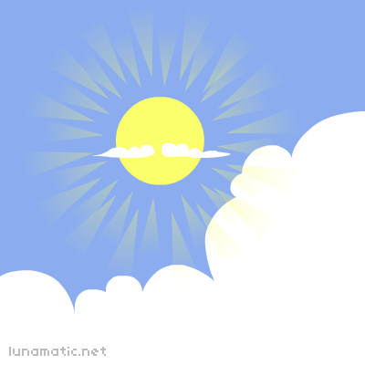 Suspiciously facial-hair shaped clouds drift casually in front of the sun
