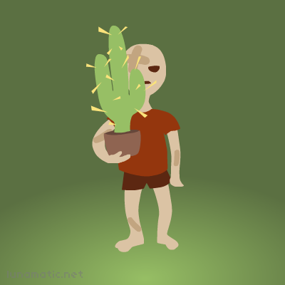 Eddie the cactus is a handful for a clumsy little boy