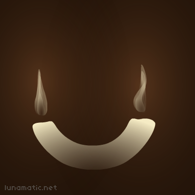 A candle lit at both ends, and curving upwards at the corners