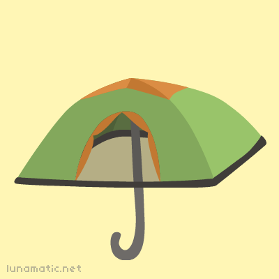 An umbrella is really just a tiny tent