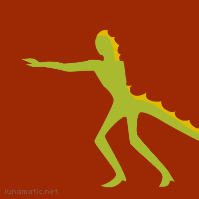 A lizard man gives chase