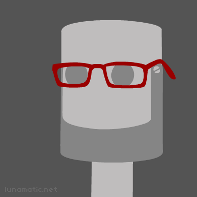 Red glasses on a very square jawed robot