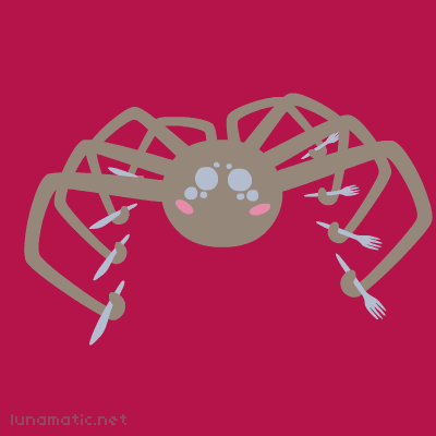 Spider struggles with four knives and four forks