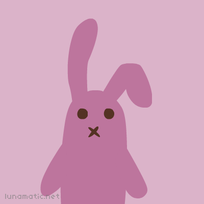 A bunny who is pink. I'm knitting a finger puppet like this out of pink yarn at the moment