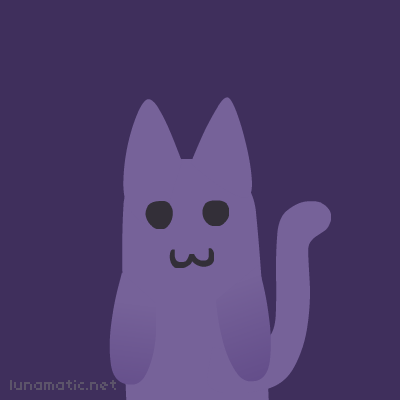 Purple kitty has no nose