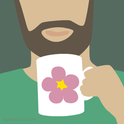 It takes a real man to drink from mug with big pink flower