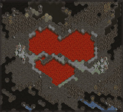 Custom game map, with a heart-shaped lava pool
