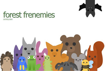 A holding page for a website, featuring many vectored woodland creatures
