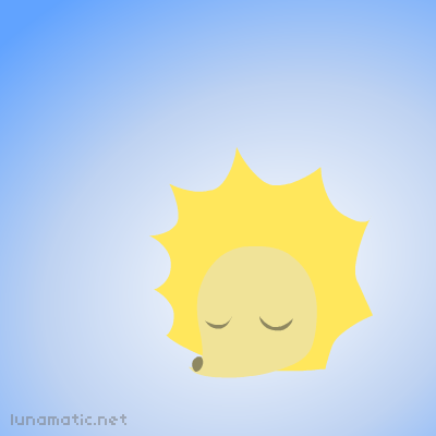 A spiky yellow hedgehog takes the place of the sun