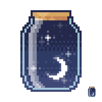 A pixelated jar that has been filled with a scoop of night sky