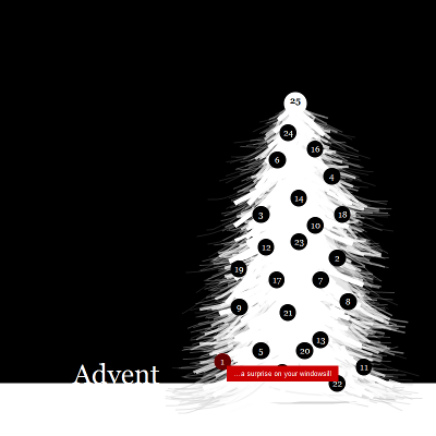Digital Advent Calendar, with a powdery Christmas tree
