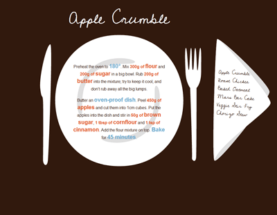 Sample apple crumble recipe. Lots of apples, lots of butter