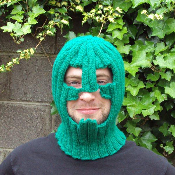 Knitted creeper balaclava in green, knitting pixels is fun!