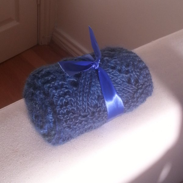 Blue scarf knitted for my mammy