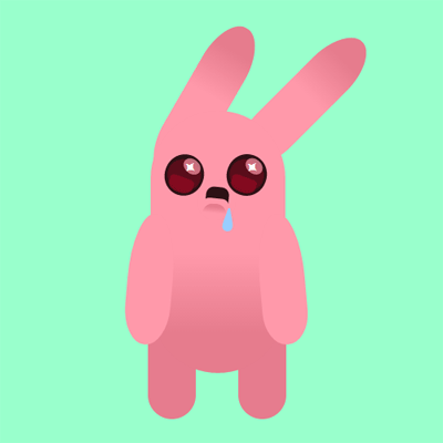 Big eyed bunny, drooling at something in the distance, maybe a carrot patch, all CSS
