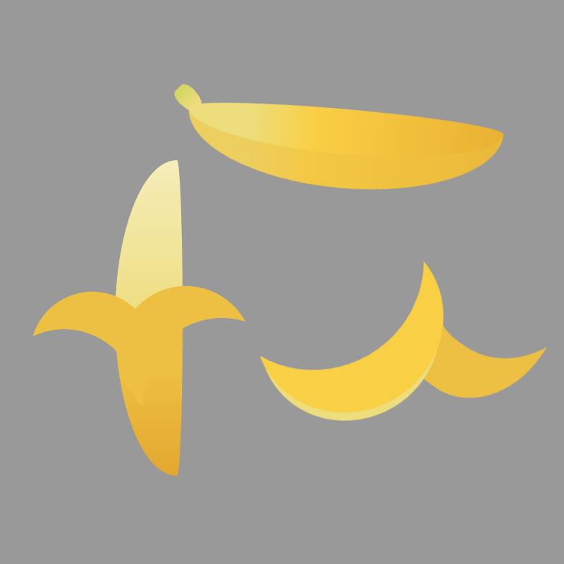 Bananas, whole, peeled and just the banana skin, all rendered in CSS